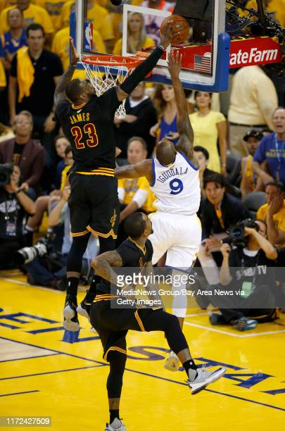 Cleveland Cavaliers' LeBron James blocks a shot against Golden State Warriors' Andre Iguodala in the fourth quarter of Game 7 of the NBA Finals at...
