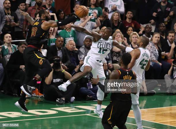 Cleveland Cavaliers LeBron James blocks Boston Celtics Terry Rozier's dunk attempt during the third quarter The Boston Celtics hosted the Cleveland...