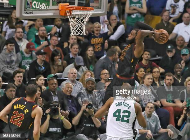 Cleveland Cavaliers LeBron James scores a slam dunk during the second quarter The Boston Celtics hosted the Cleveland Cavaliers for Game Seven of...