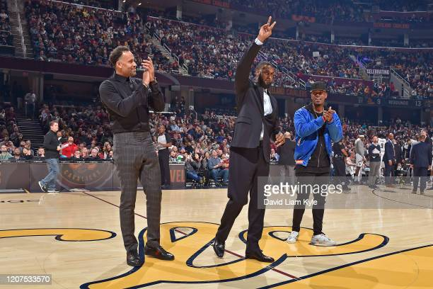 Cleveland Cavaliers Legends Ira Newble Larry Hughes and Daniel Booby Gibson are honored during halftime of the game against the Denver Nuggets on...