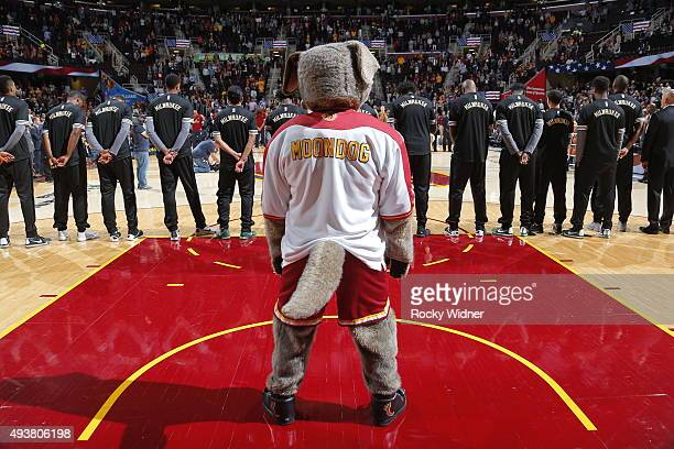 Cleveland Cavaliers mascot Moondog during the National anthem of the game against the Milwaukee Bucks on October 13, 2015 at Quicken Loans Arena in...