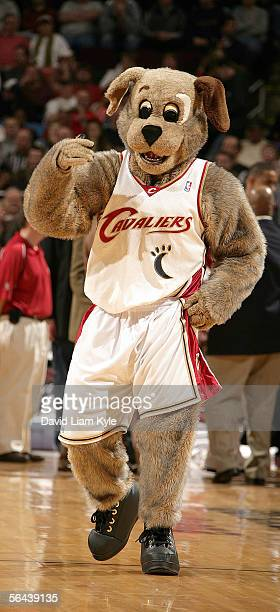 Cleveland Cavaliers mascot, Moondog, entertains fans before the game against the Denver Nuggets on December 15, 2005 at The Quicken Loans Arena in...