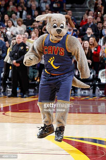 Cleveland Cavaliers mascot Moondog excites the crowd during the game against the Orlando Magic on November 21, 2015 at Quicken Loans Arena in...