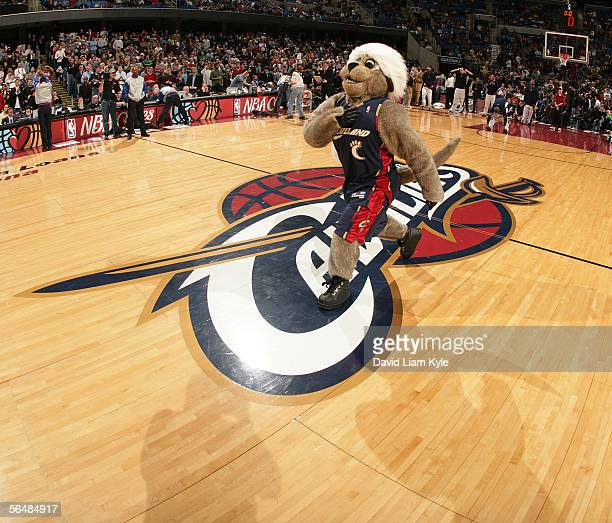 Cleveland Cavaliers Mascot 'Moondog' gets the crowd pumped up before gametime against the Indiana Pacers December 23, 2005 at The Quicken Loans Arena...