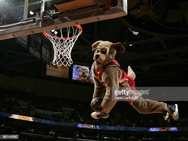 Cleveland Cavaliers mascot Moondog goes up for a powerdunk during a break in the game against the Memphis Grizzlies at Quicken Loans Arena on...