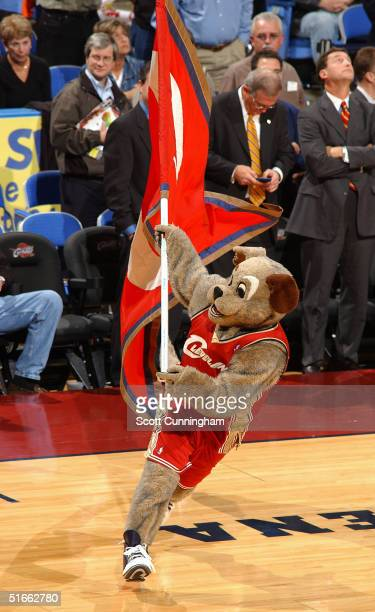 "Cleveland Cavaliers Mascot ""Moondog"" rallies the crowd against the Indiana Pacers on November 3, 2004 at the Gund Arena in Cleveland, Ohio. NOTE TO..."