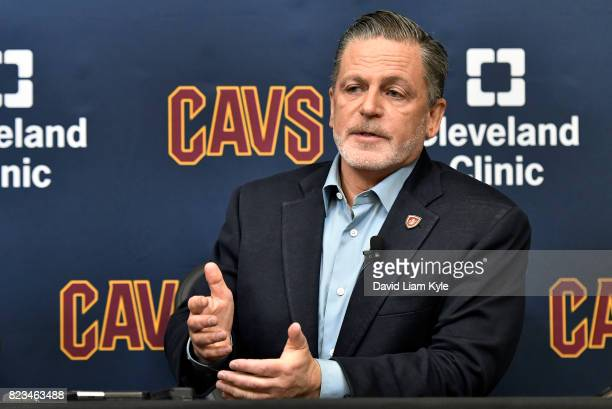 Cleveland Cavaliers owner Dan Gilbert introduces new general manager Koby Altman during a press conference at The Cleveland Clinic Courts on July 26...