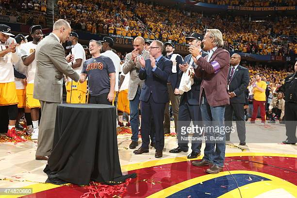 Cleveland Cavaliers owner Dan Gilbert speaks to the fans after winning the Eastern Conference Final after Game Four of the Eastern Conference Finals...