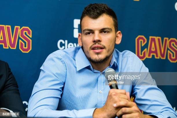 Cleveland Cavaliers player Ante Zizic answers questions during his introductory press conference at Cleveland Clinic Courts on September 7 2017 in...