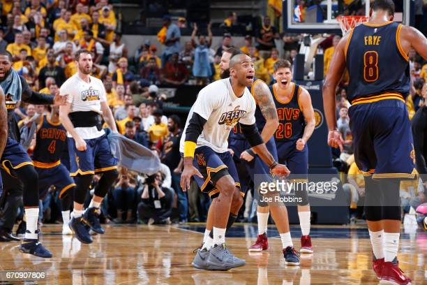 Cleveland Cavaliers players react in the fourth quarter of Game Five of the Eastern Conference First Round during the 2017 NHL Stanley Cup Playoffs...