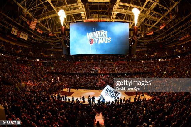Cleveland Cavaliers Whatever it Takes during break in game against the Indiana Pacers in Game Two of Round One during the 2018 NBA Playoffs on April...