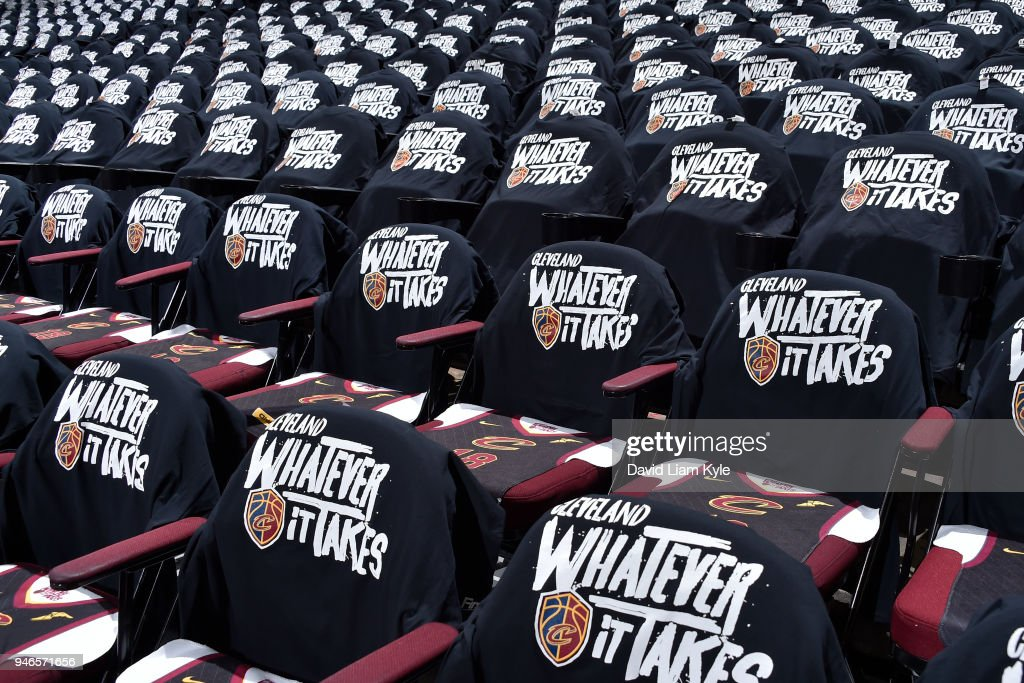 Cleveland Cavaliers 'Whatever It Takes' shirts for game against the Indiana Pacers in Game One of Round One during the 2018 NBA Playoffs on April 15, 2018 at Quicken Loans Arena in Cleveland, Ohio.