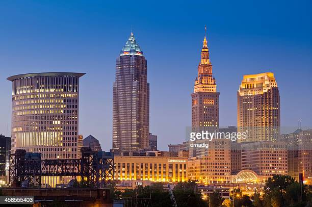 Cleveland Cityscape Just After Sunset With Lights in Buildings