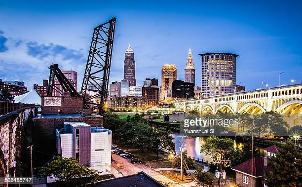 cleveland downtown west look - cleveland ohio stock photos and pictures