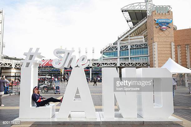 Cleveland fan poses with a #The Land sign prior to game 6 of the 2016 World Series against the Chicago Cubs and the Cleveland Indians at Progressive...
