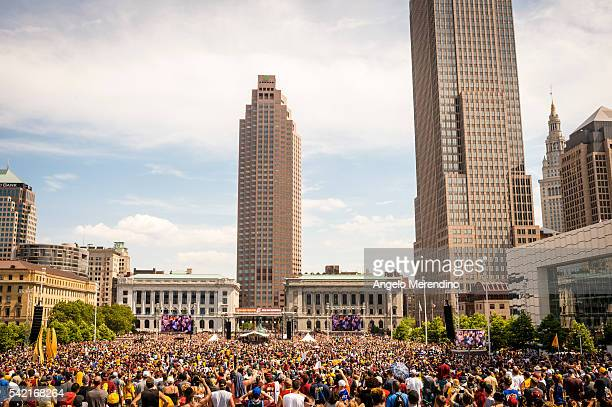 Cleveland fans celebrate during the Cleveland Cavaliers 2016 NBA Championship victory parade and rally on June 22 2016 in Cleveland Ohio The...