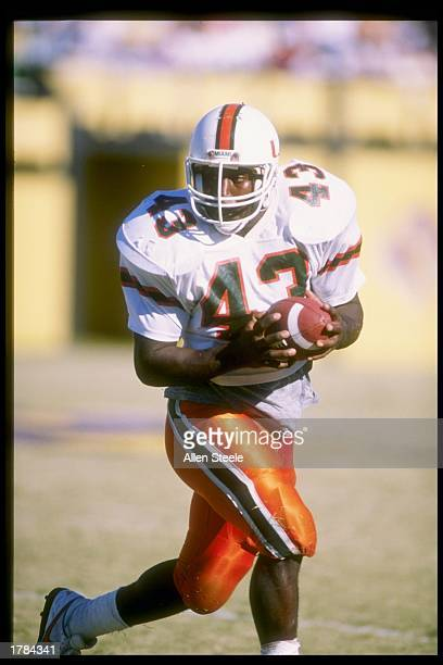 Cleveland Gary of the Miami Hurricanes runs down the field during a game. Mandatory Credit: Allen Steele /Allsport