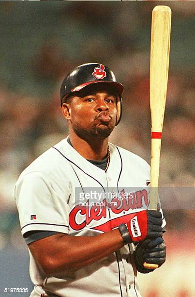 Cleveland Indians Albert Belle blows a kiss to a fan after the fan called him a disgrace to the game during Belle's first bat against the Atlanta...