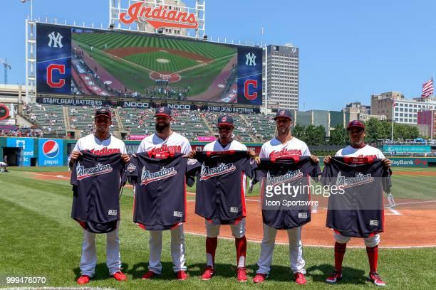 Cleveland Indians AllStars left fielder Michael Brantley starting pitcher Corey Kluber shortstop Francisco Lindor Yan Gomes and Jose Ramirez are...