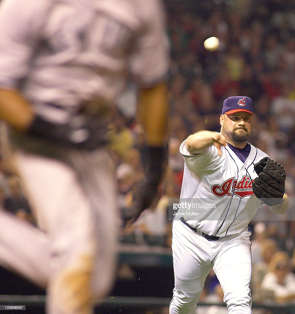 Cleveland Indians' Bob Wickman throws out New York Yankee Kenny Lofton in the ninth inning during their game against the Yankees Monday August 23, 2004 in Jacobs Field in Cleveland, Ohio. The Yankees won the game 6-4.