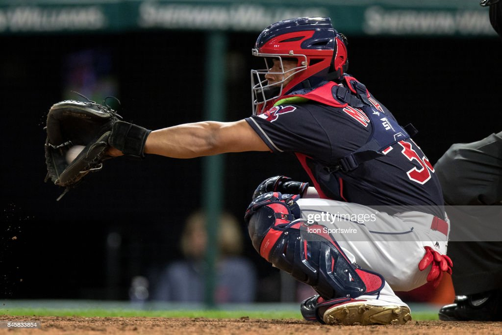 Cleveland Indians catcher Francisco Mejia (33) behind the plate during the eighth inning of the Major League Baseball game between the Detroit Tigers and Cleveland Indians on September 11, 2017, at Progressive Field in Cleveland, OH. Cleveland defeated Detroit 11-0.