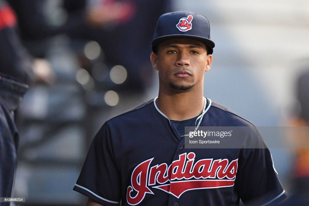 Cleveland Indians catcher Francisco Mejia (33) during a game between the Cleveland Indians and the Chicago White Sox on September 6, 2017, at Guaranteed Rate Field, in Chicago, IL.
