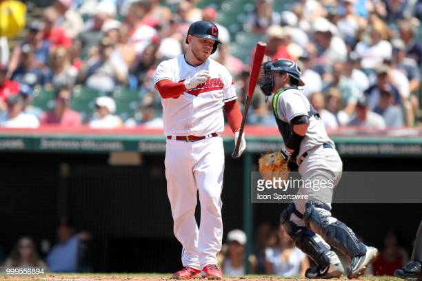 Cleveland Indians catcher Roberto Perez flips his bat after striking out to end the fourth inning of the Major League Baseball game between the New...