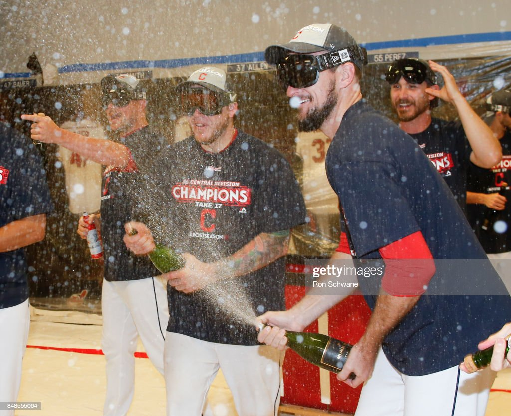 Cleveland Indians celebrate the American League Central Division championship after beating the Kansas City Royals 3-2 at Progressive Field on September 17, 2017 in Cleveland, Ohio.