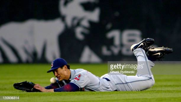 Cleveland Indians' Center Fielder Grady Sizemore dives but can't catch Pablo Ozuna's single during their game against the Chicago White Sox June 9...