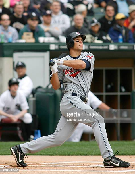 Cleveland Indians' Center Fielder Grady Sizemore hits the 2nd pitch of the season for home run during their game against the Chicago White Sox April...