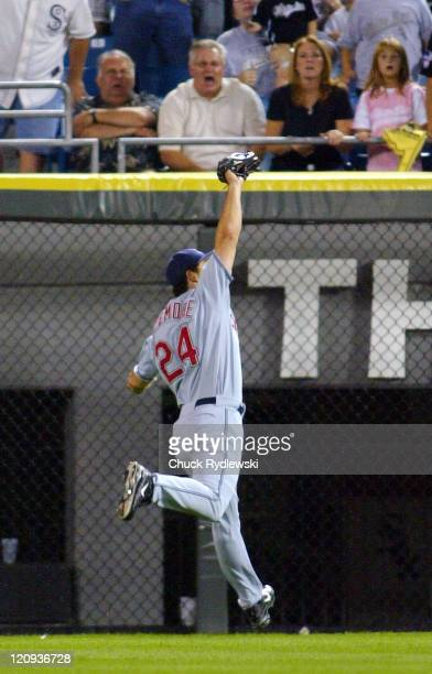 Cleveland Indians' Center Fielder Grady Sizemore runs down Jermaine Dye's line drive during the game against the Chicago White Sox September 21 2005...