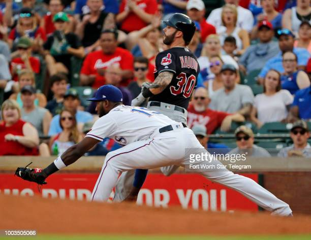 Cleveland Indians center fielder Tyler Naquin is out at first Texas Rangers starting pitcher Bartolo Colon making the throw to Texas Rangers first...