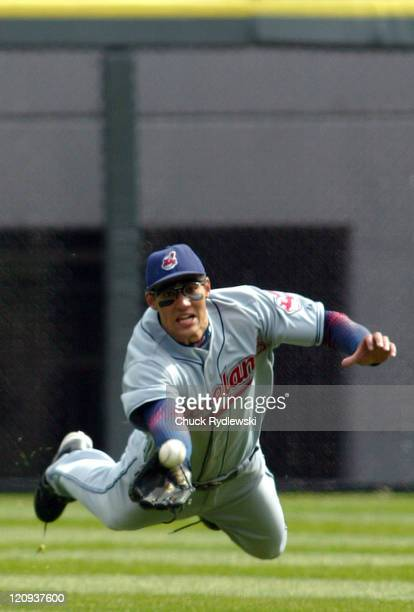 Cleveland Indians' Centerfielder, Grady Sizemore, makes a diving attempt but can't catch Tadahito Iguchi's single during the game against the Chicago...