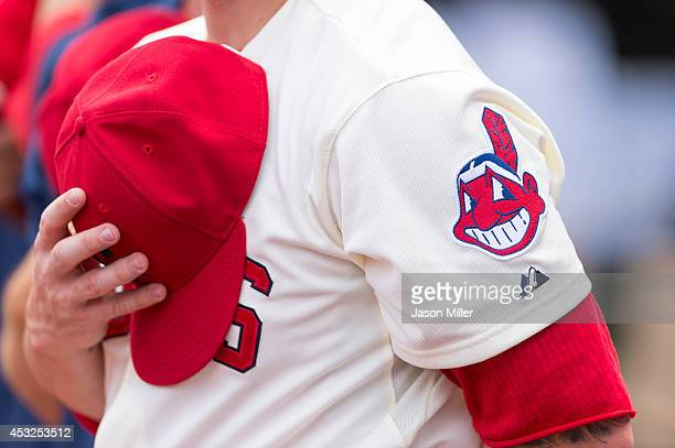 Cleveland Indians Chief Wahoo logo worn on one of the players prior to the game against the Chicago White Sox at Progressive Field on July 13 2014 in...