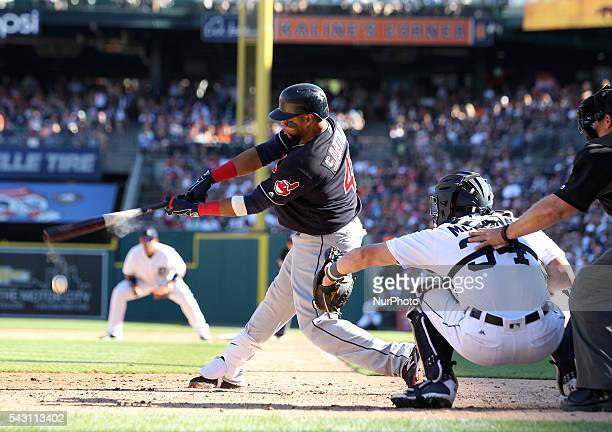 Cleveland Indians designated hitter Carlos Santana batting in the 8th inning of a baseball game against the Detroit Tigers in Detroit Michigan USA on...