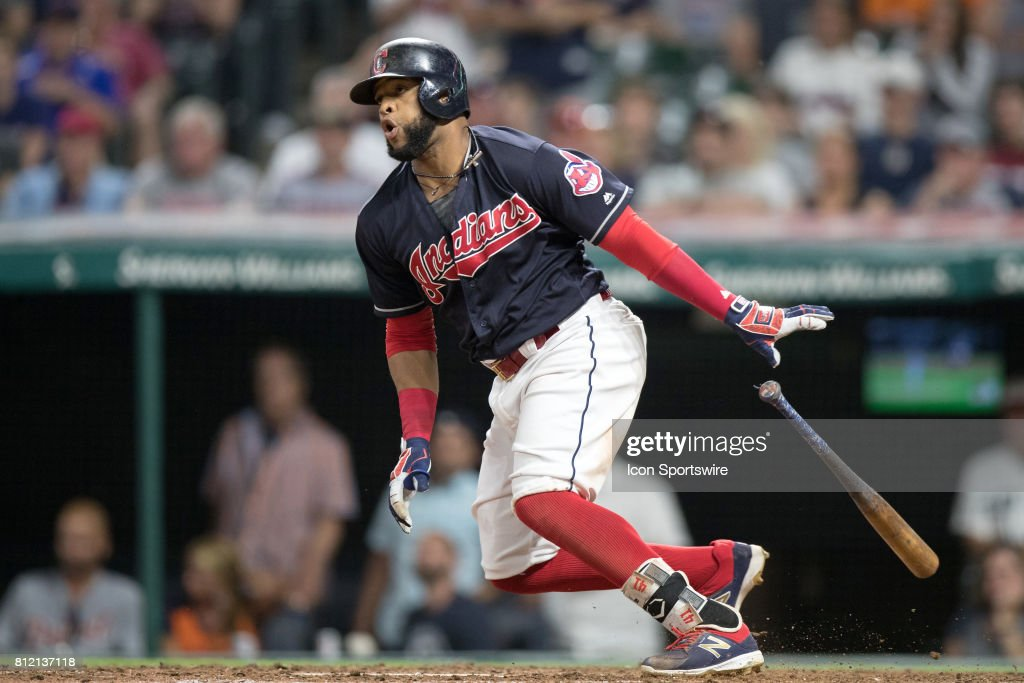Cleveland Indians designated hitter Edwin Encarnacion (10) grounds out with the bases loaded to end the eighth inning of the the Major League Baseball game between the Detroit Tigers and Cleveland Indians on July 9, 2017, at Progressive Field in Cleveland, OH. Detroit defeated Cleveland 5-3.