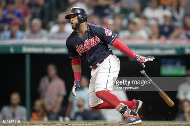 Cleveland Indians designated hitter Edwin Encarnacion grounds out with the bases loaded to end the eighth inning of the the Major League Baseball...