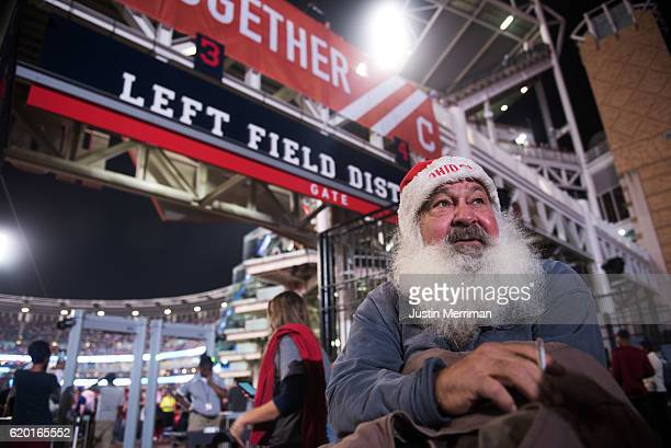 Cleveland Indians fan Joe Cooney of Willowick Ohio stands outside of Progressive Field during game 6 of the World Series against the Chicago Cubs on...