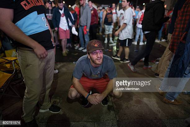 Cleveland Indians fan reacts after game 7 of the World Series between the Cleveland Indians and the Chicago Cubs in the early morning hours on...