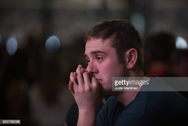 Cleveland Indians fan reacts after the Chicago Cubs defeated the Cleveland Indians 87 in game 7 of the World Series in the early morning hours on...