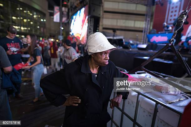 Cleveland Indians fan reacts after the Chicago Cubs defeated the Cleveland Indians in game 7 of the World Series in the early morning hours on...