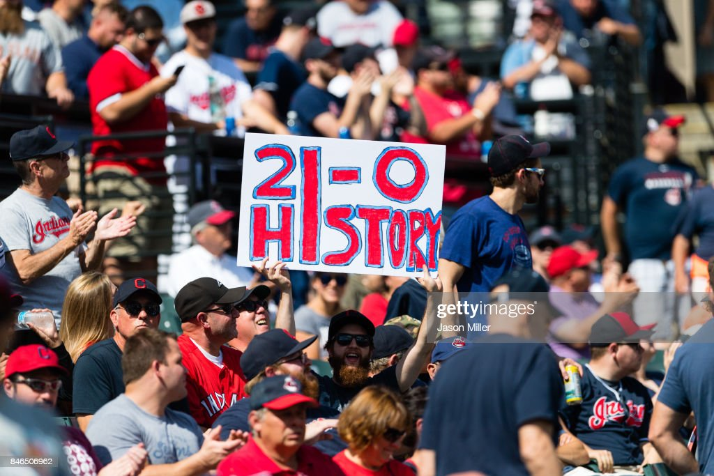 A Cleveland Indians fan shows his support for the team prior to the game against the Detroit Tigers at Progressive Field on September 13, 2017 in Cleveland, Ohio. The Indians tied the American League record for wins in a row with 20 in a 2-0 victory over the Detroit Tigers last night.
