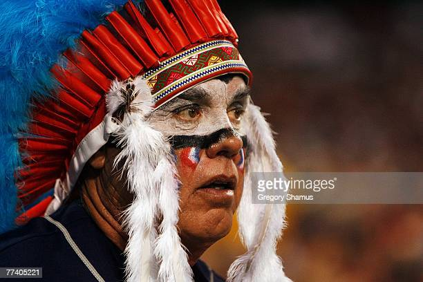Cleveland Indians fan supports his team during Game Five of the American League Championship Series against the Boston Red Sox at Jacobs Field on...