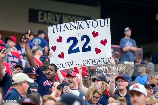 Cleveland Indians fans hold up a sign thanking the team for their winning streak following the Major League Baseball game between the Kansas City...