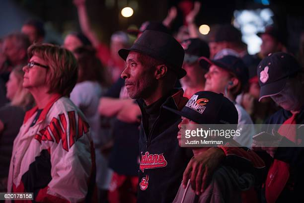 Cleveland Indians fans watch game 6 of the World Series against the Chicago Cubs on a big screen outside of Progressive Field on November 1 2016 in...