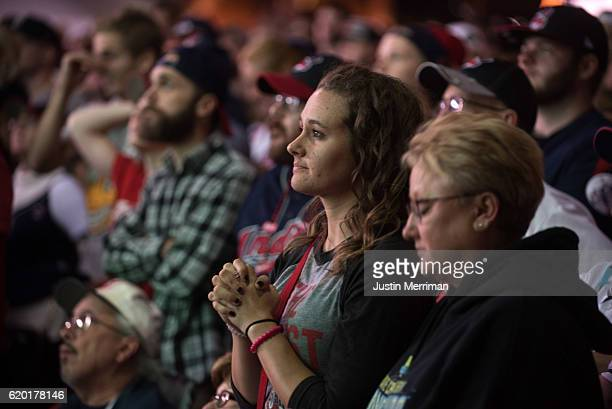 Cleveland Indians fans watch the game on a big screen outside of Progressive Field during game 6 of the World Series against the Chicago Cubs on...