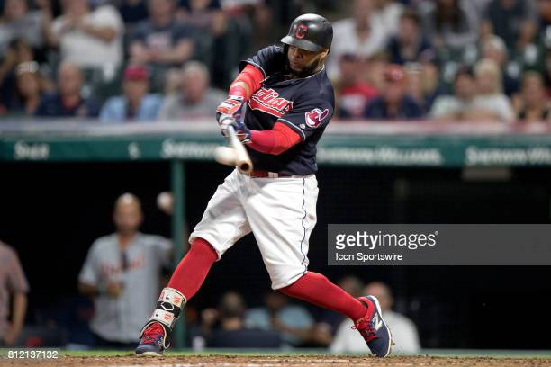 Cleveland Indians first baseman Carlos Santana singles during the seventh inning of the the Major League Baseball game between the Detroit Tigers and...