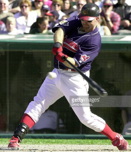 Cleveland Indians' first baseman Jim Thome hits a home run off of Minnesota Twins pitcher Rick Reed in the fourth inning The home run was Thome's...