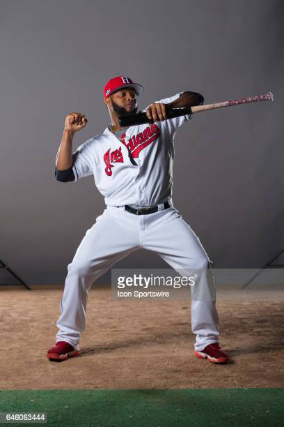 Cleveland Indians infielder Carlos Santana during the Cleveland Indians photo day on Feb 24 2017 at Goodyear Ballpark in Goodyear Ariz