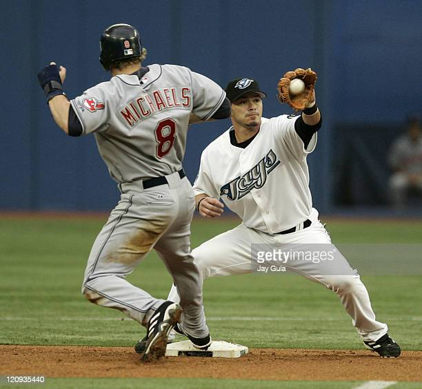 Cleveland Indians Jason Michaels gets back to the 2nd base bag ahead of the tag from Toronto 2B Russ Adams in action vs the Toronto Blue Jays at...